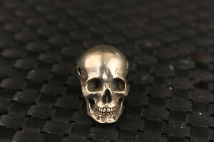 Rare Chinese old tibet silver hand carved skull statue netsuke collection bead