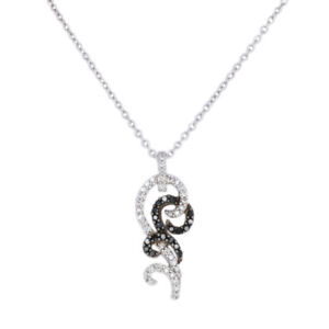 NEW .33ctw Round Cut Diamond Pendant Necklace Silver Scrollwork Adjustable