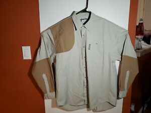 Columbia Hunting Shooting Shirt Beige Brown Heavy Cotton Mens Large L