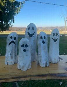 SALE Chainsaw Carved GHOST SET Carving Cabin Decor Rustic Log Wood Sculptures $50.00