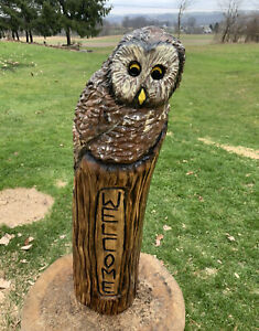 Chainsaw Carved OWL WELCOME Carving Cabin Decor Rustic Log Wood Sculptures $75.00