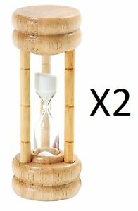 Norpro 3 Minute Hourglass Egg Game Timer Wood Base With Glass 1473 2 Pack