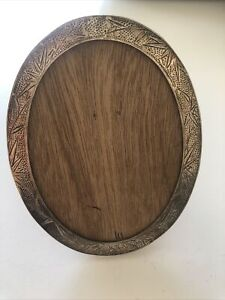 Signed F.J. Sterling Silver B Bamboo Theme Japanese ? Oval Photo Frame Wood Back $89.00