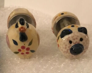 Temptations Cob Holders Old World Blue NEW Piggy and Chicken 4 Piece SET