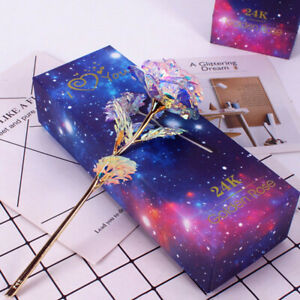 24K Gold Foil Rose Flower LED Luminous Galaxy Mother#x27;s Day Valentine#x27;s Day Gift $9.06