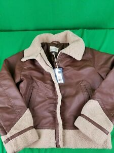Universal Thread Goods Co.™ Medium Sherpa Moto Faux Leather Brown Jacket