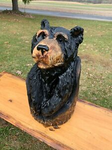 Chainsaw Carved CUTE BEAR Carving Cabin Decor Rustic Log Wood Sculptures $75.00