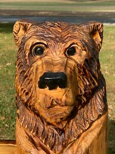Chainsaw Carved CUTE BEAR Carving Cabin Decor Rustic Log Wood Sculptures $55.00