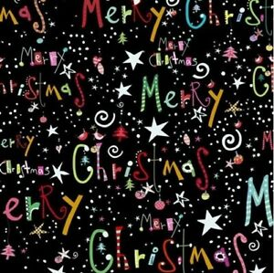 Happy Christmas Fabric 27258 J Words on Black Quilt Shop Quality Cotton $8.71
