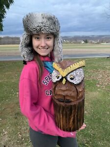 Chainsaw Carved OWL Carving Cabin Decor Rustic Log Wood Sculptures $50.00