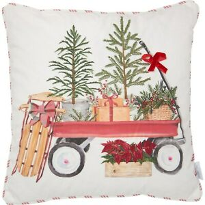 "Holiday Wagon Throw Pillow 18x18"" Feathers $16.99"
