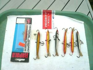 LOT OF 7 RAPALA ICE FISHING lt;JIGGINGgt; MINNOWS ONE MINT IN PACK 6 ARE LARGER