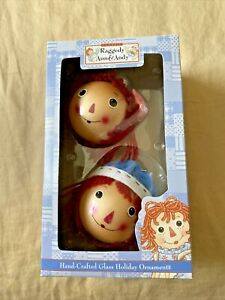 Kurt Adler Raggedy Ann amp; Andy Hand Crafted Glass Holiday Ornaments NEW w box $11.70