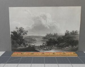 Delaware River Bordentown New Jersey Karl Bodmer Antique Engraving 19th Century $14.25