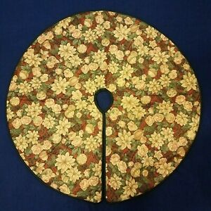 Vintage Handmade Poinsettia Peony Floral Christmas Tree Skirt 42quot; Double Sided $14.99