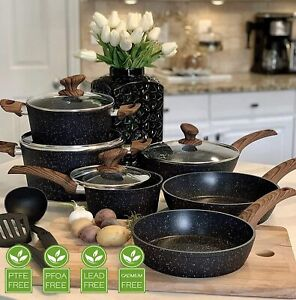 Kitchen Pots amp; Pans Set Nonstick Cookware Set Granite Coated w Lids 12 Piece FDA $91.99