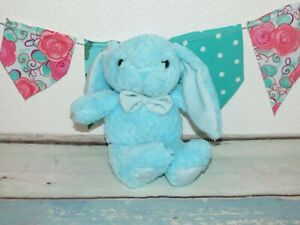 Kellytoy Bunny Rabbit Blue Striped Bowtie Quilted Box Textured Doll Plush 9quot; Toy $24.99