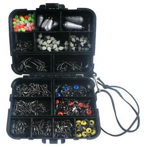 177PCS Fishing Accessories Kit set with Tackle Box Swivels Snaps Sinker Hooks