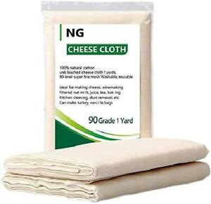 NUOBUNG Cheesecloth Grade 90 100% Unbleached Organic Cotton Ultra Fine Chee