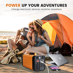 Portable Solar Generator 300W 288Wh Power Rechargeable Battery Camping Laptop