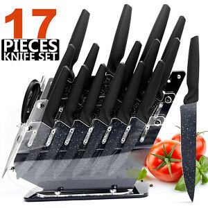 17Pcs Kitchen Knives Set Stainless Steel Chef Knife With Block Non Slip Handle $45.99