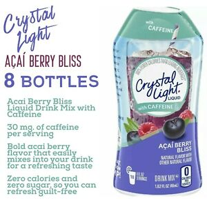 8 Pack Crystal Light Acai Berry Bliss Liquid Water Enhancer Caffeine $22.45