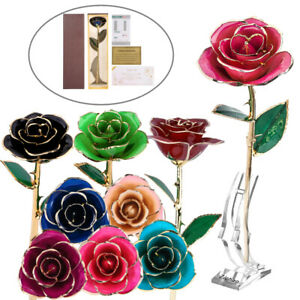 24K Gold Rose Dipped Flower Real Long Stem Valentines Day r Gift Mother