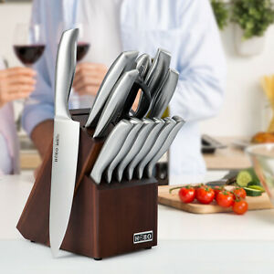 Professional 14Pcs Kitchen Knife Set Chef Knife Stainless Steel Wooden Block $59.99
