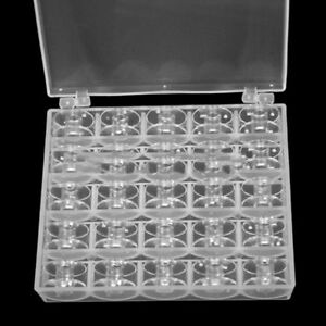 25 Clear Bobbins For Sewing Singer Plastic Spool Box Machine Brother Janome $3.45