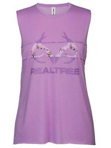 Realtree Camouflage WOMEN Violet Purple Antler Logo Muscle Tank Top T Shirt