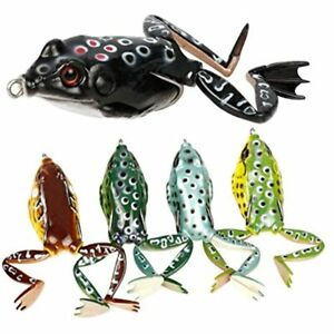 RUNCL Topwater Frog Lures With Legs Soft Fishing Kit Tackle Box For Bass Pike