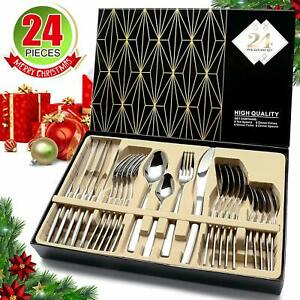 24Pcs Stainless Steel Silverware Set Kitchen Cutlery Flatware Set Service For 6 $32.98