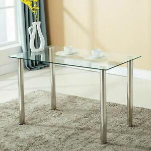 Dining Table Modern Kitchen Dining Room Desk Set Glass Table White