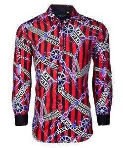 Suslo Couture Men#x27;s Slim Fit Red Chains Designer Long Sleeve Button Down Shirt