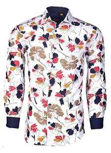 Suslo Couture Men#x27;s Slim Fit Flower Fall Designer Long Sleeve Button Down Shirt