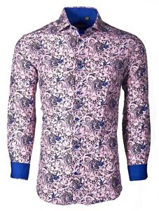 Suslo Couture Men#x27;s Slim Fit Paisley Pink Designer Long Sleeve Button Down Shirt