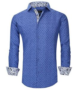 Suslo Couture Men#x27;s SlimFit Shady Blue Designer Long Sleeve Button Down Shirt