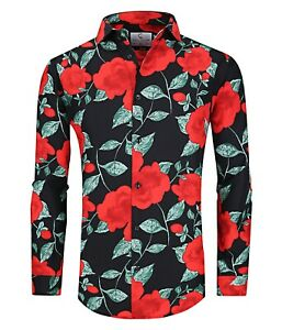 Suslo Couture Men#x27;s Slim Fit Green Flower Designer Long Sleeve Button Down Shirt