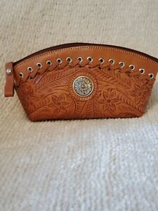 American West Leather Clutch Cosmetic Case Harvest Moon Handcrafted Concho... $36.00