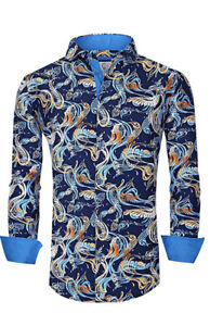 Suslo Couture Men#x27;s Slim Fit Paisley Blue Designer Long Sleeve Button Down Shirt