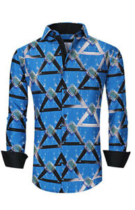 Suslo Couture Men#x27;s Slim Fit Pyramid Blue Designer Long Sleeve Button Down Shirt