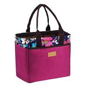 Large Tote Lunch Bag for Women Adults Ladies Insulated Cooler Bag with 4 Sides