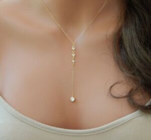 Solitaire Round Diamond Pendant Necklace with Gold Plated Chain