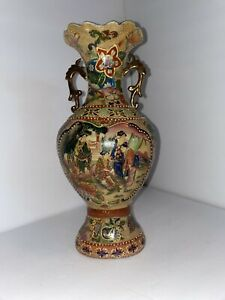Vintage Royal Satsuma Japanese Vase Geisha Girls Moriage Gilded Double Handles