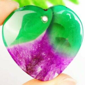 F17321 Purple Green Onyx Druzy Geode Agate Heart Pendant Bead 36x36x6mm $4.14