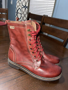 Pikolinos Red Boots Women Euro 39 US 8.5 New With Tags