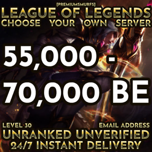 NEW League of Legends Unranked Smurf Account Lvl 30 NA EUW 55000 70000 BE $8.50