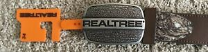 REALTREE MEN#x27;S CAMO amp; BROWN LEATHER BELT W SOLID BUCKLE SIZE 34 NWT