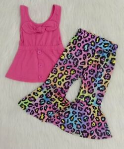 2PCS Toddler Baby Girls Pink Tank Tops Bowknot Leopard Bell Bottoms Clothing Set $17.99