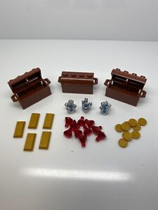 Lego Lot of Brown Chests With Gold Coins Bars And Jewels Gems Pirate Loot